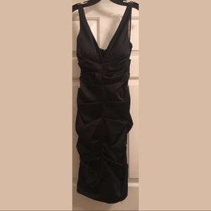 Xscape Dresses - Size 4 Black satin Ruched Formal Dress